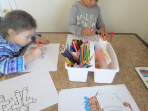Coloring the puppets