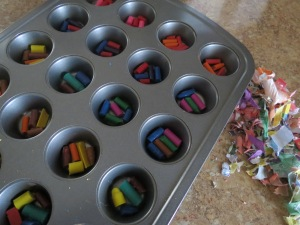 Crayons ready to bake